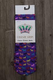 Ridstrumpor lila med hästar
